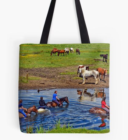 Horse riding in a river, near Ogmore Castle, Wales Tote Bag