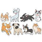 8 Happy Dog Stickers by Mel Albino