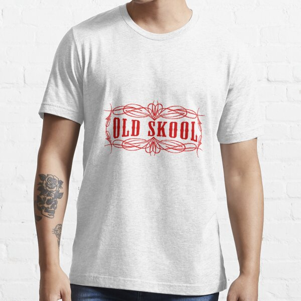 Old Skool Nadelstreifen-Design in Rot Essential T-Shirt