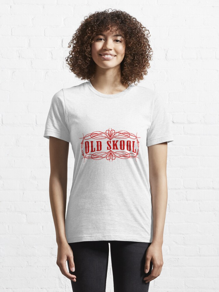 Alternative Ansicht von Old Skool Nadelstreifen-Design in Rot Essential T-Shirt