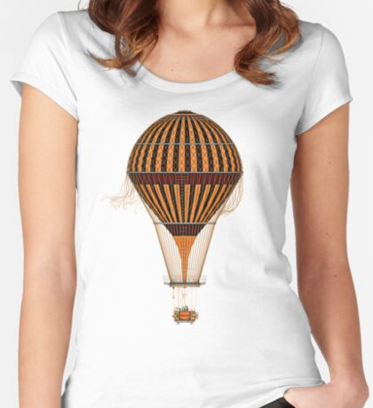 Elegant Steampunk Vintage Hot Air Balloon Steampunk T-Shirts Women's Fitted Scoop T-Shirt