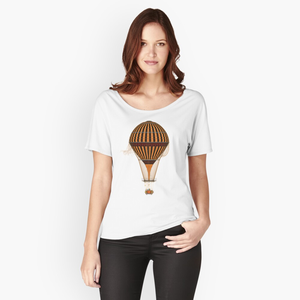 Elegant Steampunk Vintage Hot Air Balloon Steampunk T-Shirts Women's Relaxed Fit T-Shirt Front