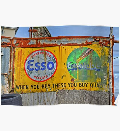 Old enamelled Billboard Esso Petrol Advertisement Poster