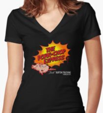 Pork Chop Express - Distressed Glow Variant Women's Fitted V-Neck T-Shirt
