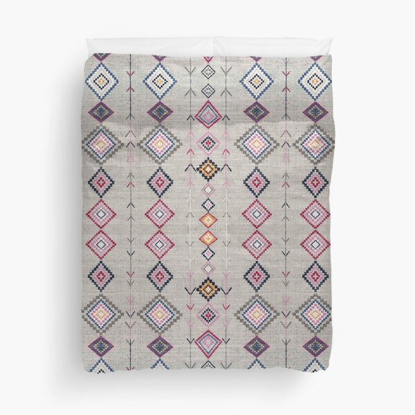 Grey Heritage Traditional Farmhouse & Boho Moroccan Style Duvet Cover