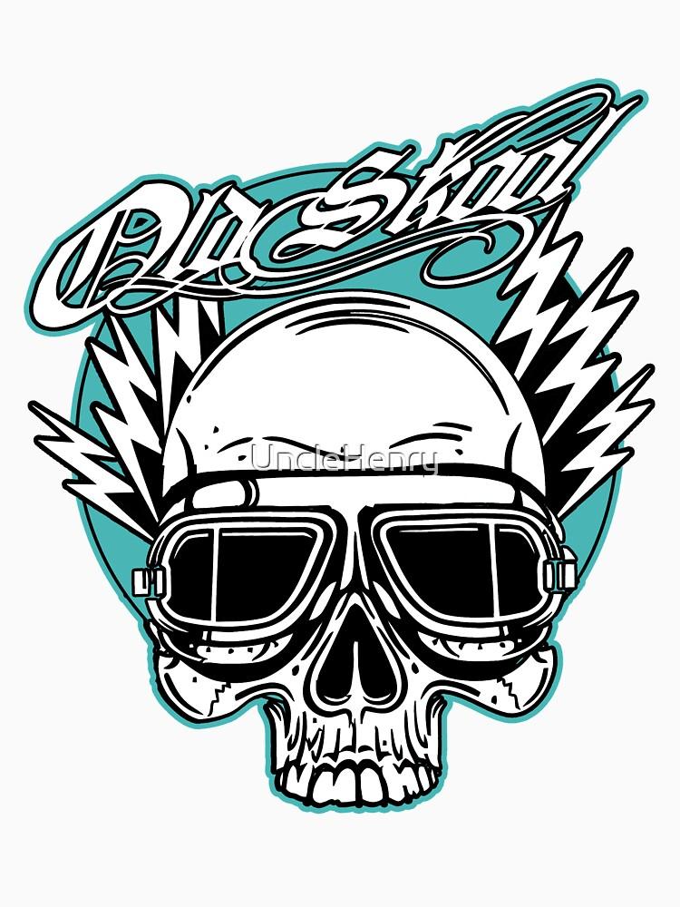 Old Skool Skull Design in Türkis von UncleHenry