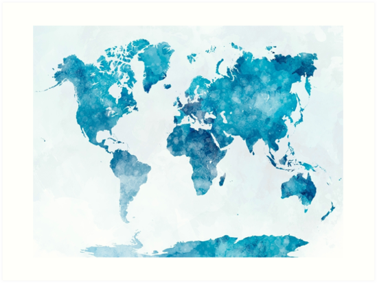 World map in watercolor art prints by paulrommer redbubble world map in watercolor by paulrommer gumiabroncs Images