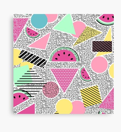 Modern geometric pattern Memphis patterns inspired Canvas Print