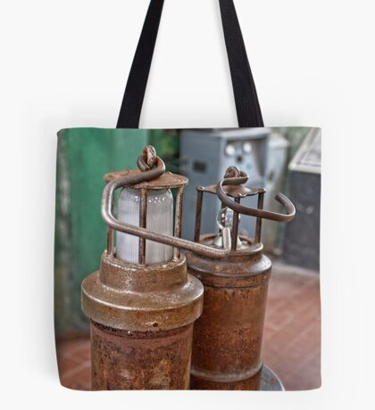 Old Ancient Miners Lamps for Coal Mining Tote Bag