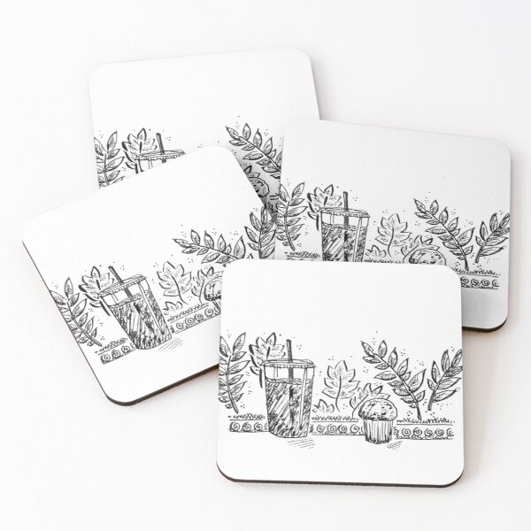 Coffee Shop with Drink and Muffin Coasters (Set of 4)