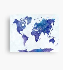 Travel abstract art background color colorful concept continent world map in watercolor canvas print gumiabroncs