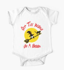 Out The Womb On A Broom - Cover your Naked Witch Body One Piece - Short Sleeve