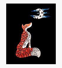 Fox and moon   Photographic Print