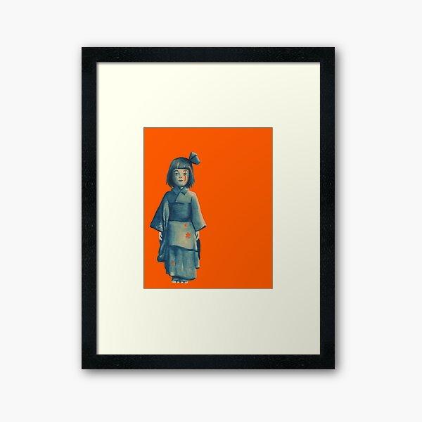 little girl in blue Framed Art Print