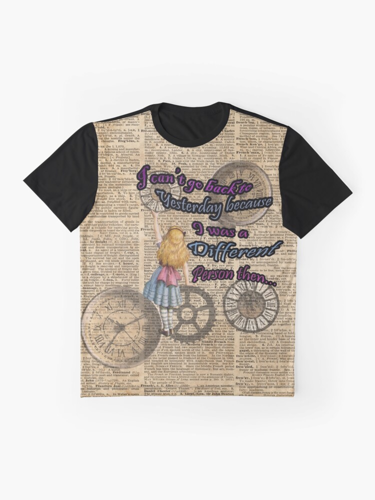 Vista alternativa de Camiseta gráfica Alicia en el país de las maravillas viajando en el tiempo