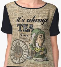 """""""It's always tea time"""" Mad Hatter Dictionary Art Women's Chiffon Top"""