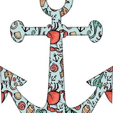 Anchor w/ Ocean Pattern by lawjfree