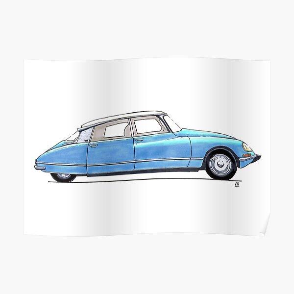 Citroen DS bleu Poster