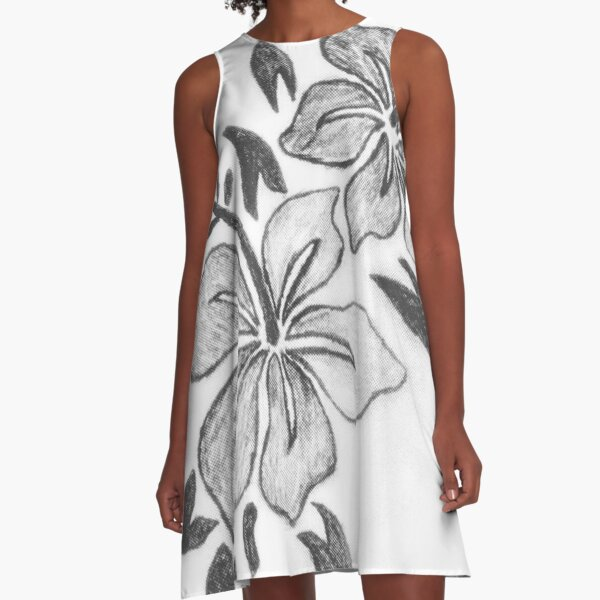 Flower Sketch A-Line Dress