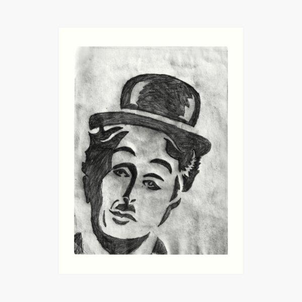 Charlie Chaplin Face Sketch Art Print