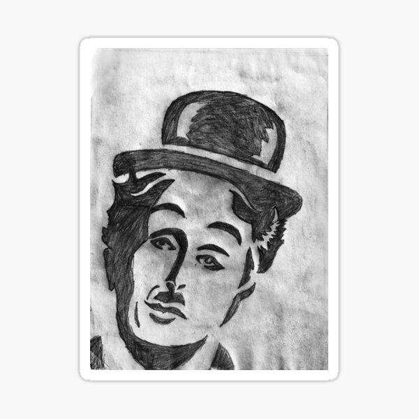 Charlie Chaplin Face Sketch Sticker