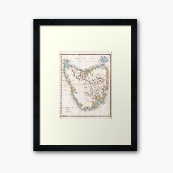 Vintage Map of Tasmania (1837) Framed Art Print