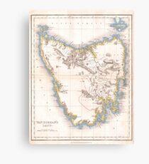 Vintage Map of Tasmania (1837) Canvas Print