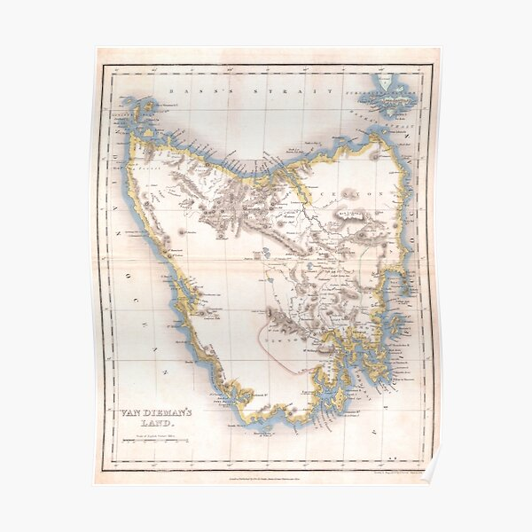 Vintage Map of Tasmania (1837) Poster