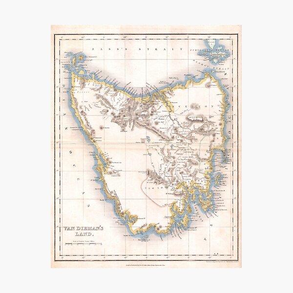 Vintage Map of Tasmania (1837) Photographic Print