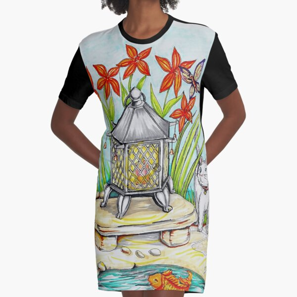 Japanese Lantern Graphic T-Shirt Dress