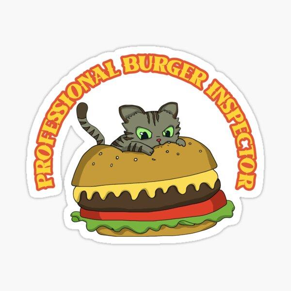 Professional Burger Inspector Tabby Cat Sticker