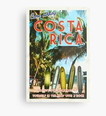 Surfing in Costa Rica isn't easy.  Metal Print