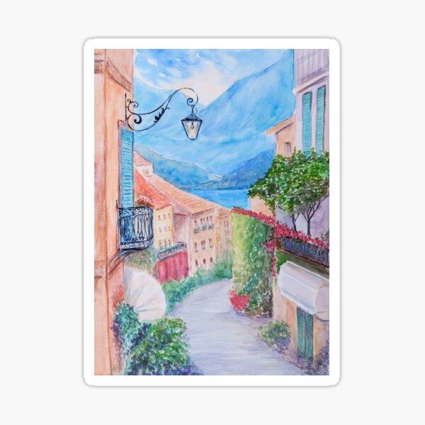 Small town street view in Bellagio, Lake Como Italy Sticker