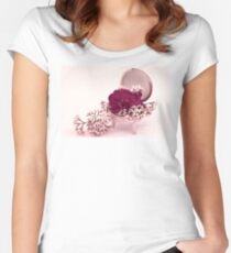Pink Geranium In Vintage Dish  Women's Fitted Scoop T-Shirt