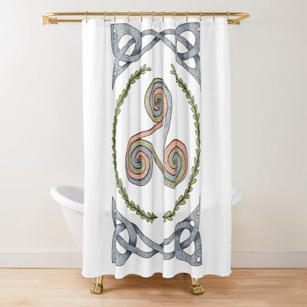 Triskelion and Celtic Border - Earth Tones Shower Curtain