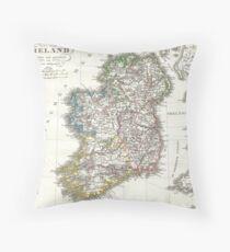 Vintage Map of Ireland (1841) Throw Pillow