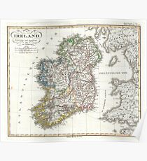 Map Of Ireland Poster.Old Ireland Map Posters Redbubble