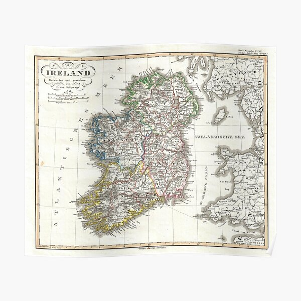 1800/'S MAP BRITISH ISLES ENGLAND DUBLIN EDINBURGH VINTAGE POSTER REPRO