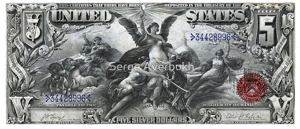 Five U.S. Dollar Bill - 1896 Educational Series  by Serge Averbukh