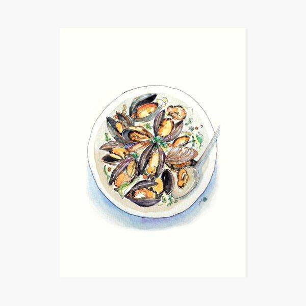 Mussels Illustration Art Print