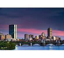 Purple Boston Sunset Photographic Print