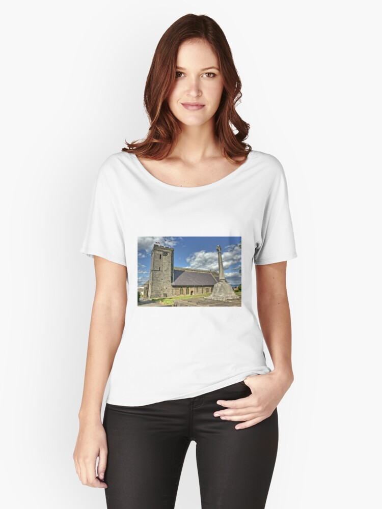 Old Norman Church in Wales (UK) showing USA Flag Women's Relaxed Fit T-Shirt Front