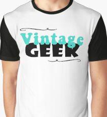 Vintage Geek Retro Typography Aqua Turquoise Blue & Black Graphic T-Shirt