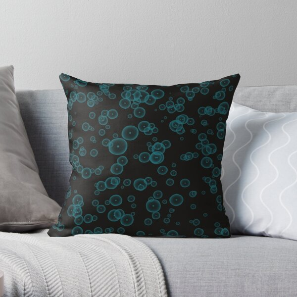 Bubbles in the dark Throw Pillow