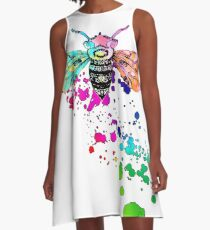 Big Beautiful Bee Watercolor Paint Splatter Honeybee  A-Line Dress