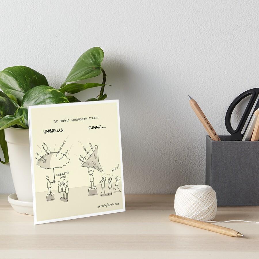 Umbrellas and funnels Art Board Print
