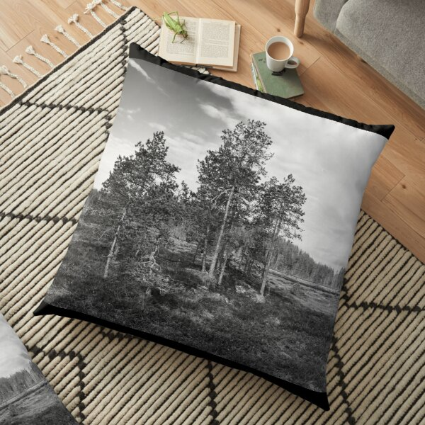 The Pines of the Wetlands bw Floor Pillow