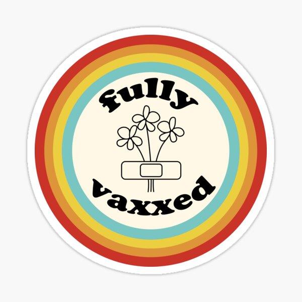 "retro rainbow ""fully vaxxed"" (fully vaccinated) covid vaccine design Sticker"