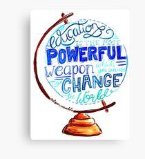 Nelson Mandela - Education Change The World, Typography Vintage Globe Design Canvas Print