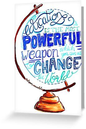 Nelson Mandela - Bildung verändern die Welt, Typografie Vintage Globe Design von Kit Cronk